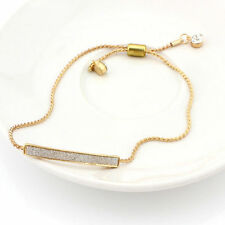 Fashion Gold Crystal Pave Bar Slider Bracelet Adjustable Drawstring Tightening #