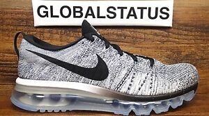 separation shoes bfb29 ad2b2 La foto se está cargando Nike-Mujer-FLYKNIT-AIR-MAX-Negro-Blanco-Gris-