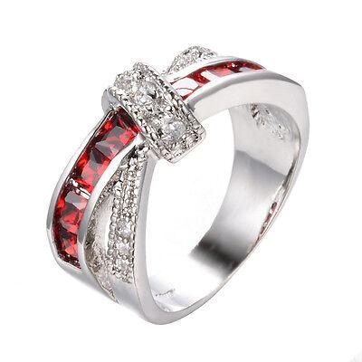 Garnet Ruby CZ Cross Ring Size 6-9 Women's 10K White Gold Filled Wedding Jewelry