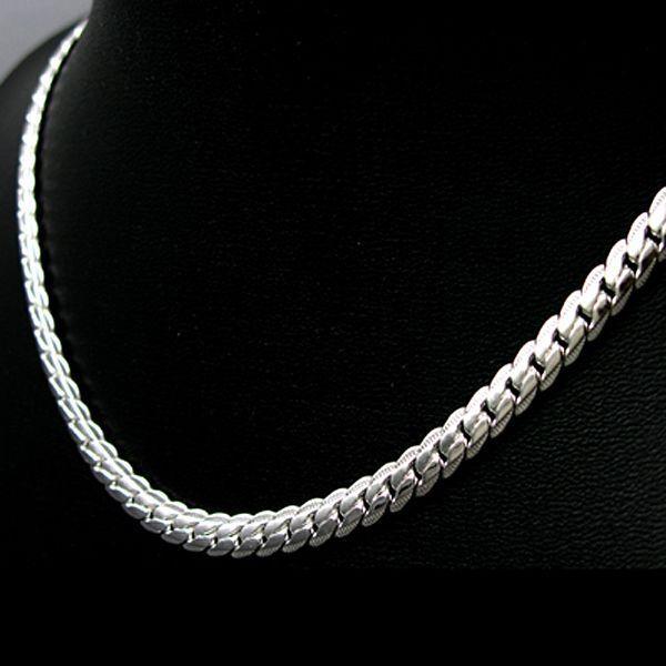 ASAMO Herren Halskette Panzerkette 925 Sterling Silber plattiert Kette HA1130