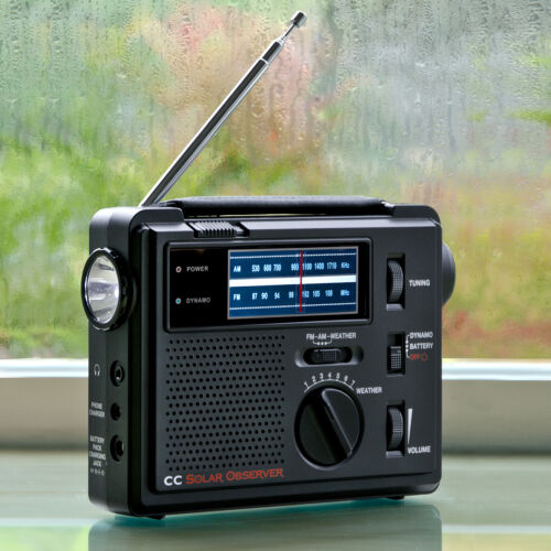 Crane Solar Observer Wind Up Radio with AM FM Weather and built in Flashlight C