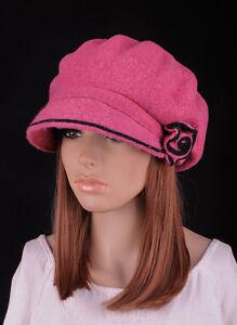 b25d3fc441 M389 Pink Cute 2-Tone Flower Warm Wool Women's Winter Hat Newsboy ...