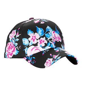 fcae9ad575b3c No Boundaries Women's Satin Baseball Cap/Hat Black Floral Bouquets ...