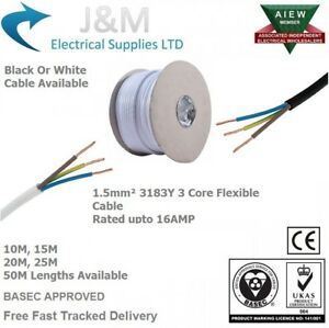 15mm 3183y flex 13 amp electrical cable white black mains wire 240v image is loading 1 5mm 3183y flex 13 amp electrical cable publicscrutiny Images