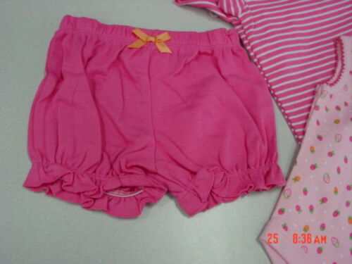 NWT Infant Girl Pink Faded Glory 3 piece set Shirt Creeper Shorts New UNUSED
