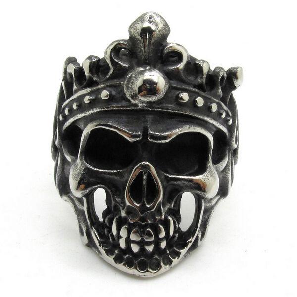 Men's Pirate King Evil Demon Skull 316L Stainless Steel Silver Ring