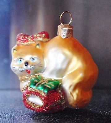 Old World Cream Siamese Cat Glass Ornament