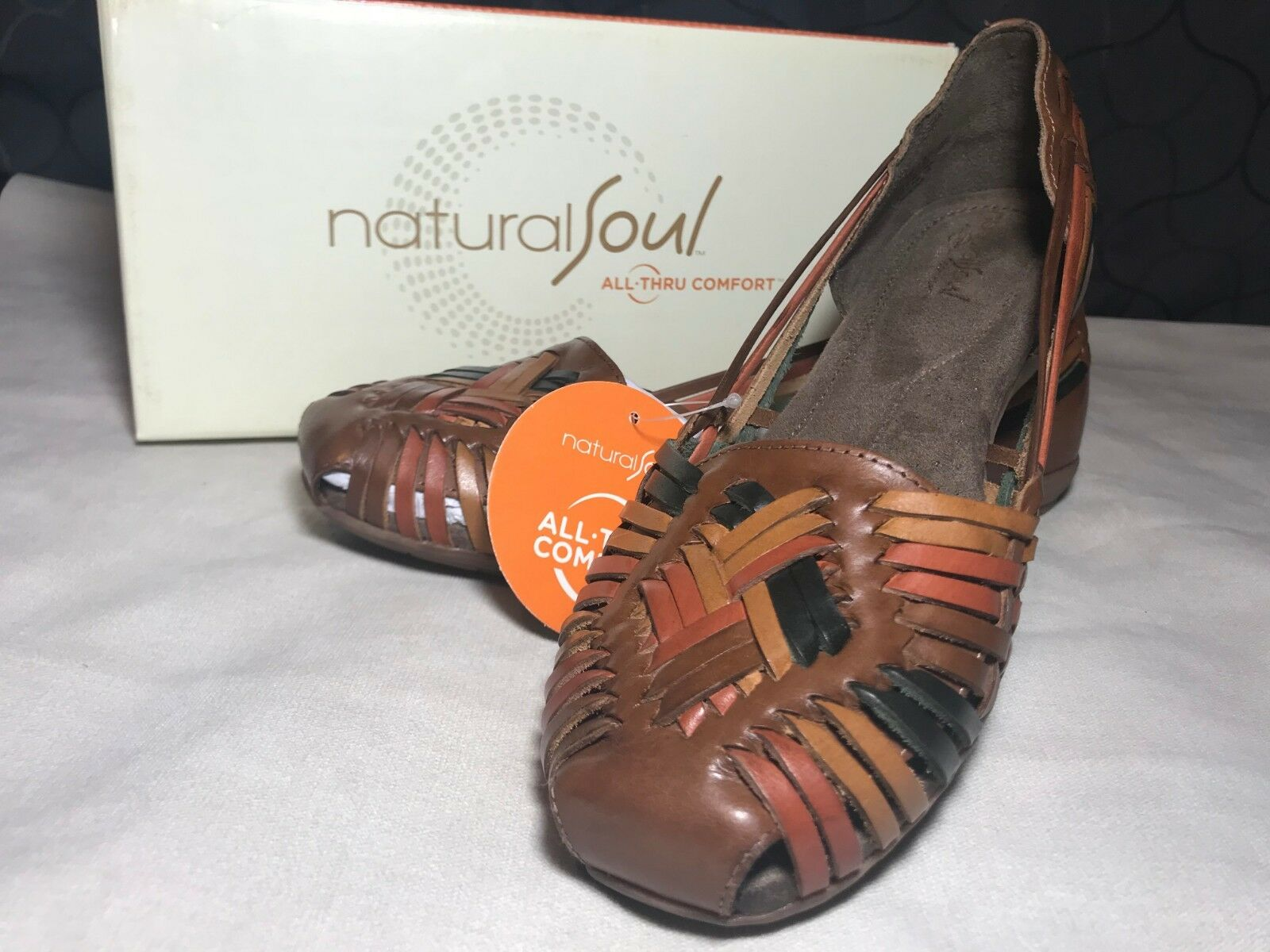 Natural Soul by Naturalizer Grandeur Multi Brown Pelle Woven Loafers Flats 9.5
