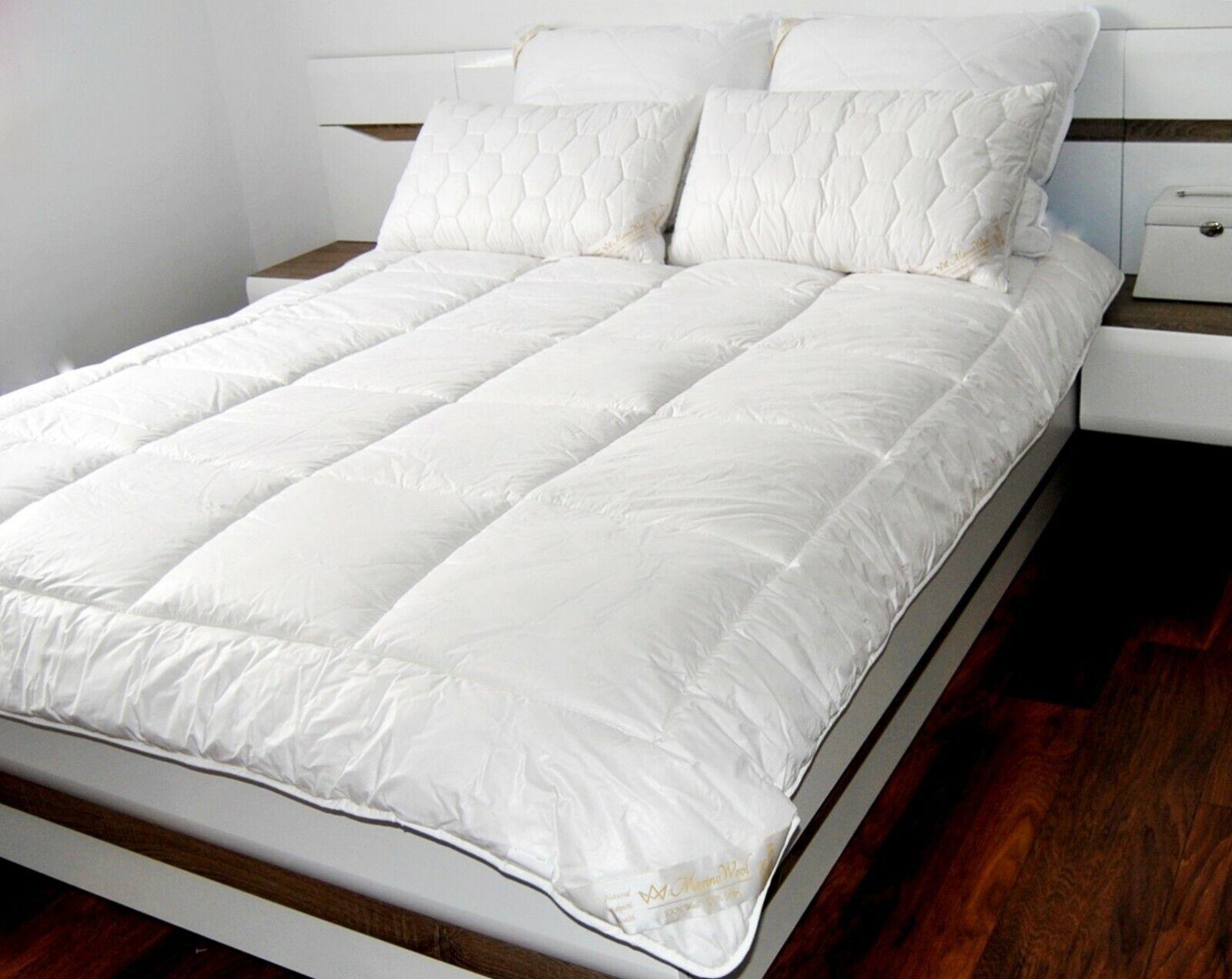 100% Merino Wool Bettdecke 8-10.5tog King Größe 220 x 230cm + 2 Kissen 45 x 75