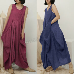 ZANZEA-Women-Sleeveless-Baggy-Cotton-Maxi-Dress-Kaftan-Summer-Baggy-Sundress