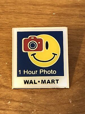Rare Walmart Lapel Pin One Hour Photo Smiley Department Wal-mart Pinback
