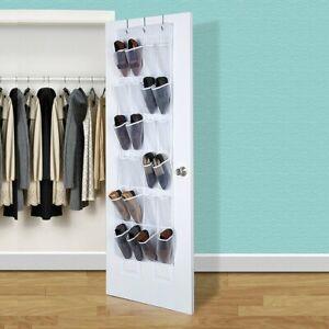 24 Poche Organisateur De Chaussures Suspendu Rangement Mural Range Chaussures Ebay
