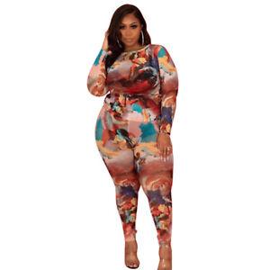 Plus Size Women Crew Neck Short Sleeves Leopard Print Bodycon Long Jumpsuit 2pcs