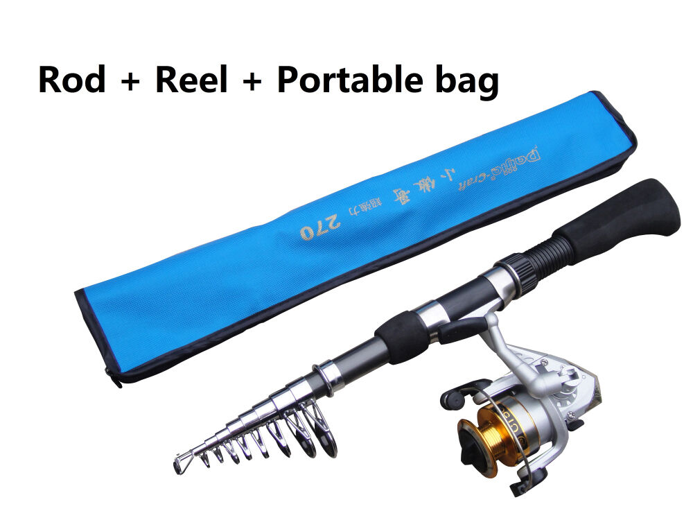 Portable carbon telescopic sea beach fishing rod CW 30-80g & C150 spinning reel