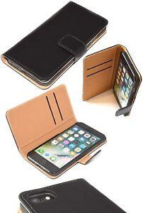 iPhone-7-Saffiano-PRO-Genuine-Real-Leather-Book-Case-Black-Folio-Wallet