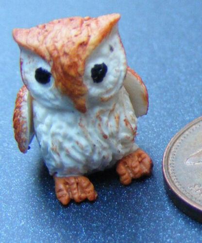 1:12 Scale Large Polymer Clay Brown Owl Tumdee Dolls House Garden Bird L