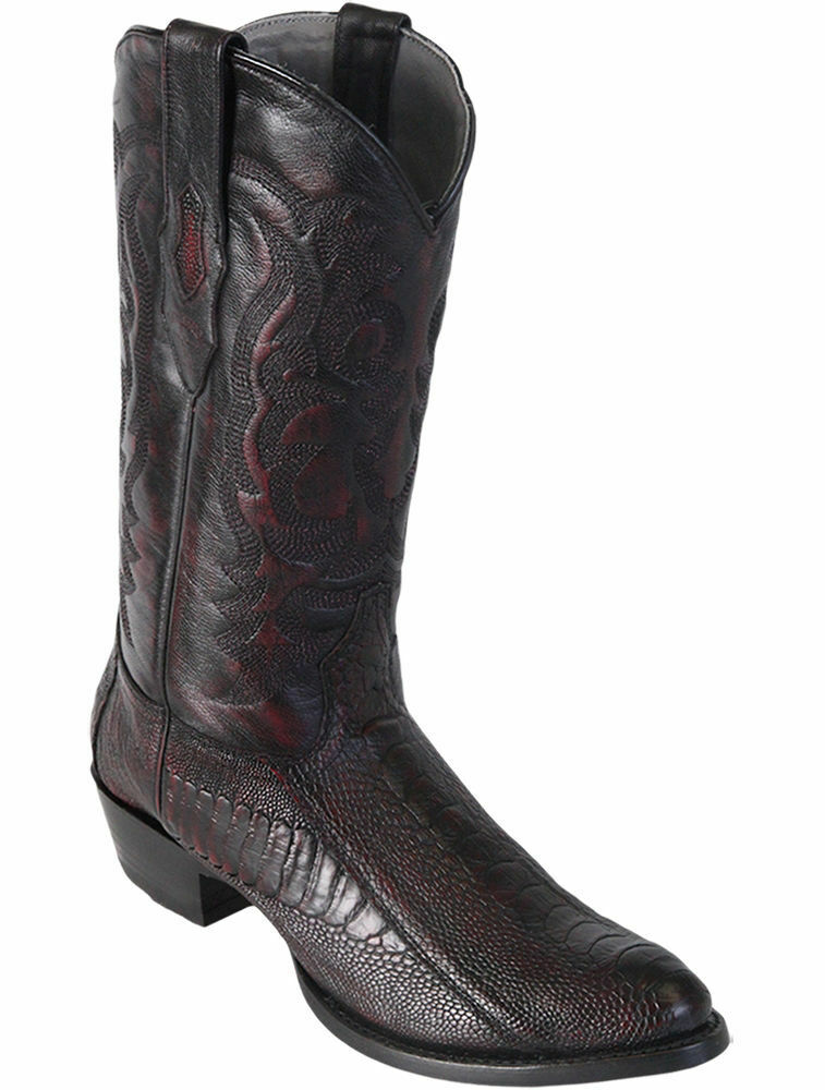 LOS ALTOS MEN CHERRY GENUINE OSTRICH LEG ROUND TOE WESTERN COWBOY avvio (D)