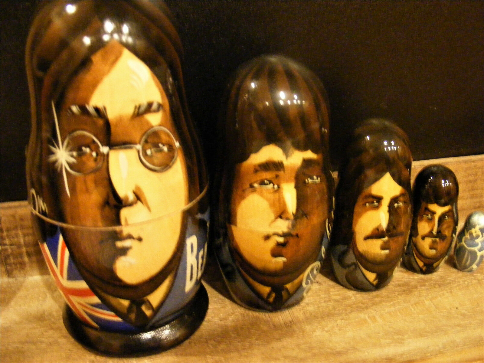 The Beatles 5p en bois Russe Nesting dolls matreshka John lennin Paul McCartney