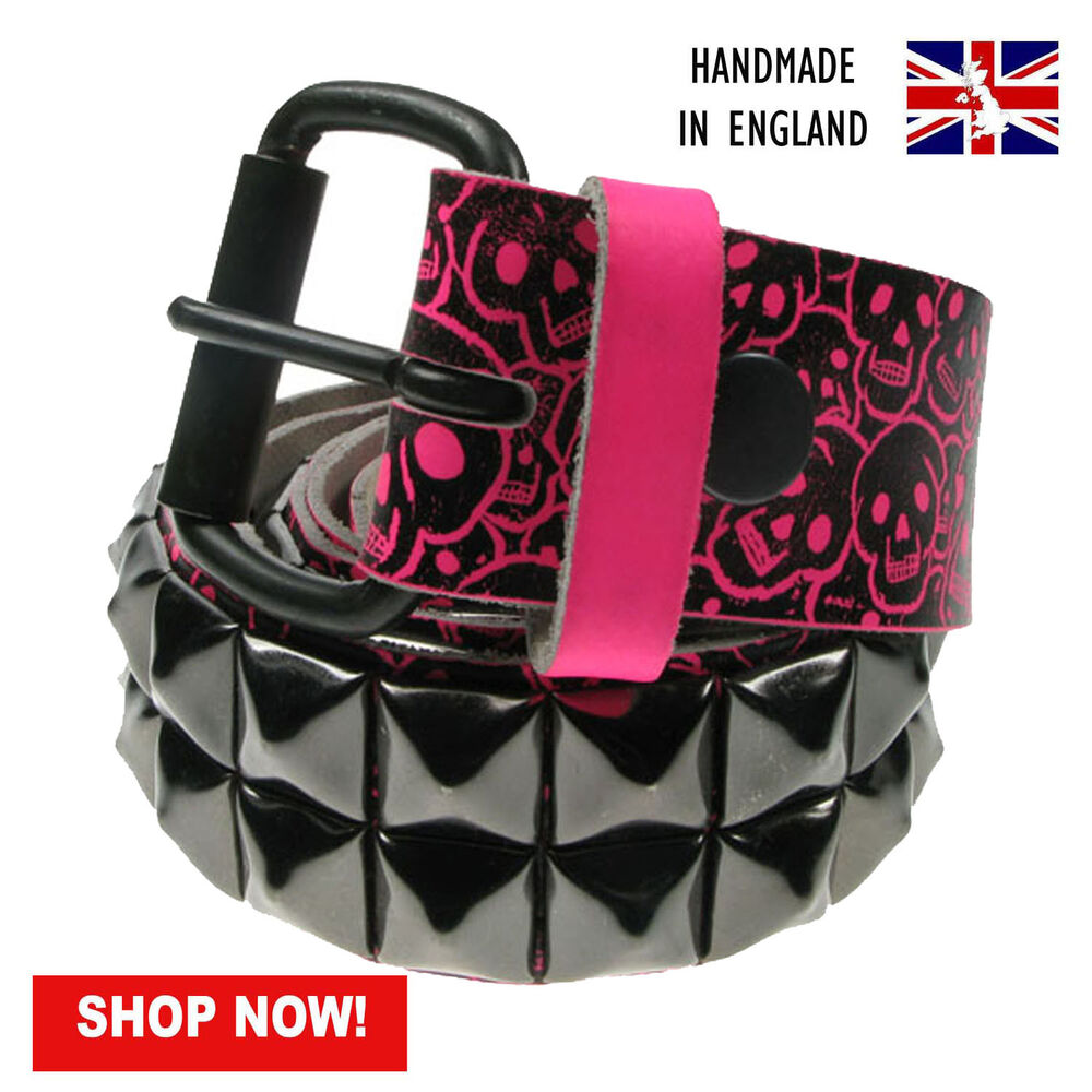 "38mm F.pink Pyramid Studded Printed Real Leather Belt Made In Uk Sizes 28""-44"""