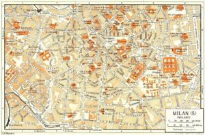 MILAN, S town/city plan. Milano. Italy 1953 old vintage map chart   eBay