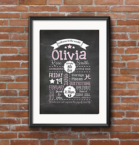 personalised new baby birth chalkboard print a4 a3 gift pink grey