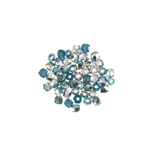 L65//3 True2™2mm Czech Fire Polished Beads Aqua Labrador Pack of 50