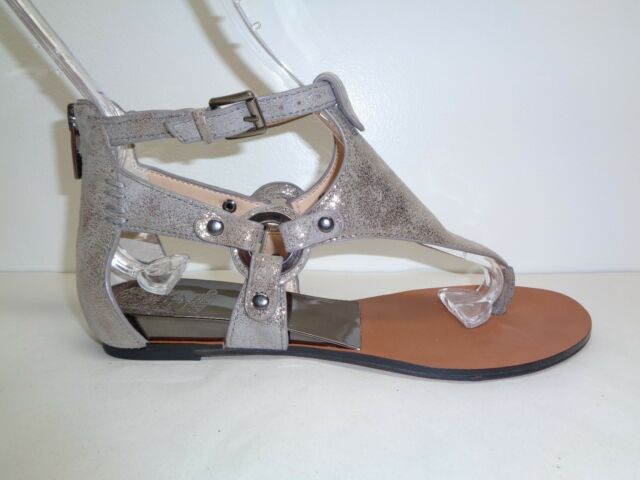 ba8da7755e0d Vince Camuto Size 6 M AVERIE Metal Grey Leather Wedge Sandals New Womens  Shoes