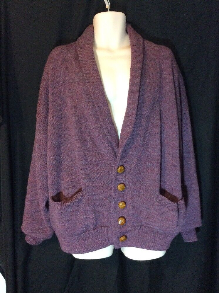 -Ouisha Hand Loomed Sweater Mens Purple Pure Wool Lined Cardigan XL