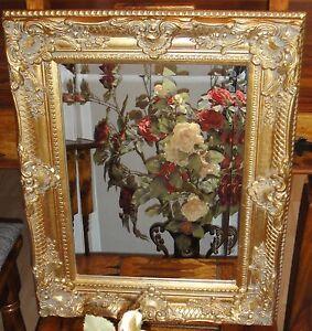 Spiegel Barock Wandspiegel gold Rahmen Antik Badspiegel 44 cm x 54 cm Deko Holz Meble i wyposażenie wnętrz