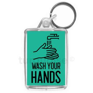 Virus-Wash-Your-Hands-Keyring-Gift-Key-Fob-Medium-Size