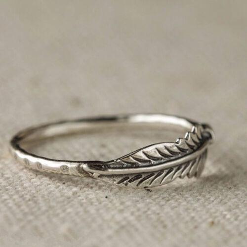 Creative Plata envoltura alrededor de anillo de pluma Ala De Ángel Hoja Regalos Joyas De Plata 6A