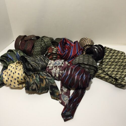 Lot of 14 silk ties for Crafting or Quilts