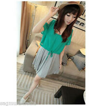 Japan Korea 2pcs off shoulder sexy green top and gray summer dress cute LAST ONE