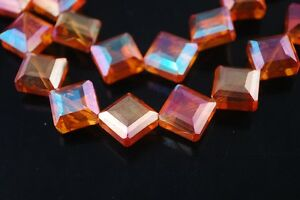 10pcs-Diagonal-Square-Faceted-Glass-Crystal-Charms-Loose-Spacer-Beads-Wine-Red