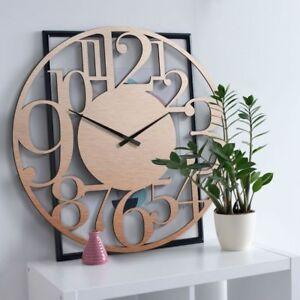 Details zu Wanduhr Alu-Dibond Uhr XXL mit Uhrwerk Kupfereffekt Wohnzimmer  70 cm Deko Modern