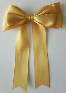"""5 or 10 Large Handmade 10cm 4/"""" Double Satin Bow In Yellow  Packs of 2"""