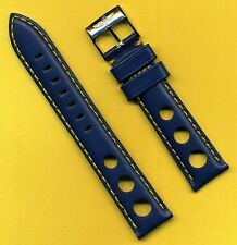 Breitling Buckle & 20mm Blue Rally Racing Genuine Leather Strap Yellow Stitching