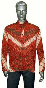 Indian Men's 100/% Cotton Tunic Kurta Shirt Plus Size Tye Dye Color