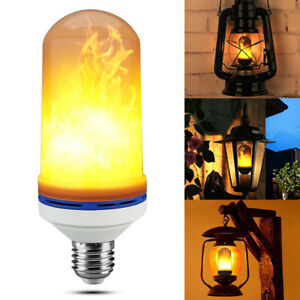 LED Flame Effect Fire Light Bulb E26 Flickering Flame Lamp Simulated Decorative