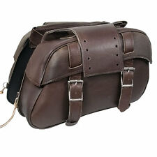 Xelement 2921-BR Brown Leather Slanted Motorcycle Saddlebag