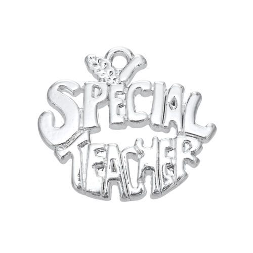 10Pcs Special Teacher Silver Pendants Charms For Jewelry Making Zinc Alloy