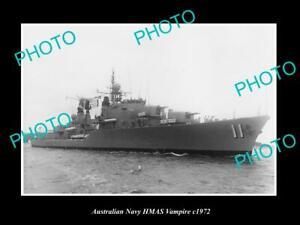 OLD-8x6-HISTORIC-AUSTRALIAN-NAVY-PHOTO-OF-THE-HMAS-VAMPIRE-SHIP-c1972
