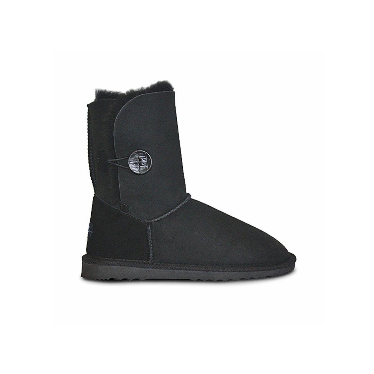 Women Burlee Sheepskin Boot Made In Australia Classic Button Black 100% Original