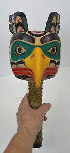 PNW-FIRST-NATION-STYLE-CEREMONIAL-GREEN-EAGLE-RATTLE-POSSIBLY-HAIDA-STYLE