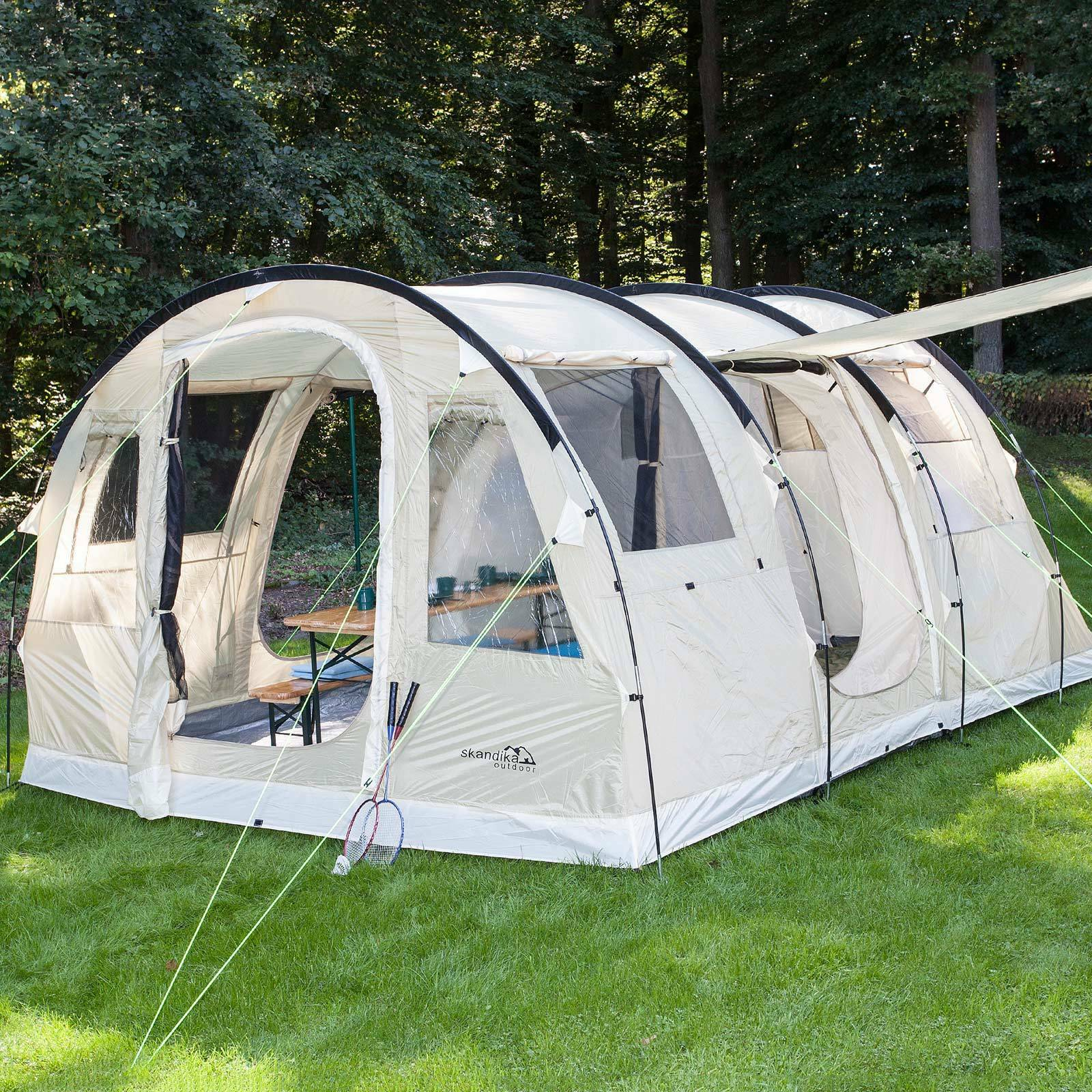 Skandika Gotland 4 person tent camping family tunnel mosquito beig new