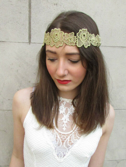 Gold Lace Headband Vintage Flapper 1920s Flower Great Gatsby Fancy Dress M61