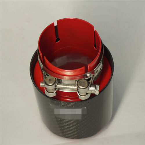 Car Auto Modified Exhaust Pipe Tip Carbon Fiber Red Baking Paint Stainless Steel