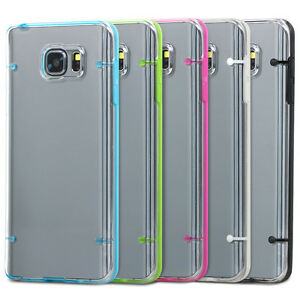 new concept 4dca4 0bb6a Details about Clear PC Back & Gel Cover For Samsung Galaxy Note 5 Silicone  Glow Edge Case
