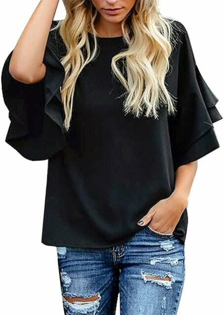 luvamia Womens Casual V Neck Blouse 3//4 Bell Sleeve Mesh Panel Shirts Loose Top