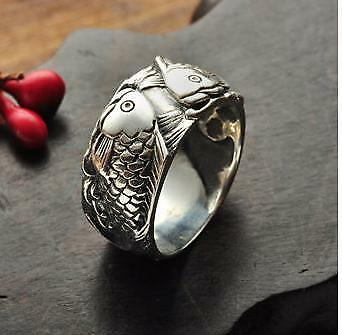 viking Odin /'s Symbol of Norse Real 925 Sterling Silver Double Fish Ring